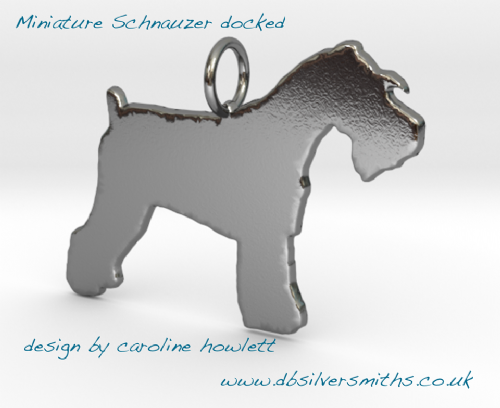 Schnauzer Docked Charm solid sterling silver Handmade in the Uk